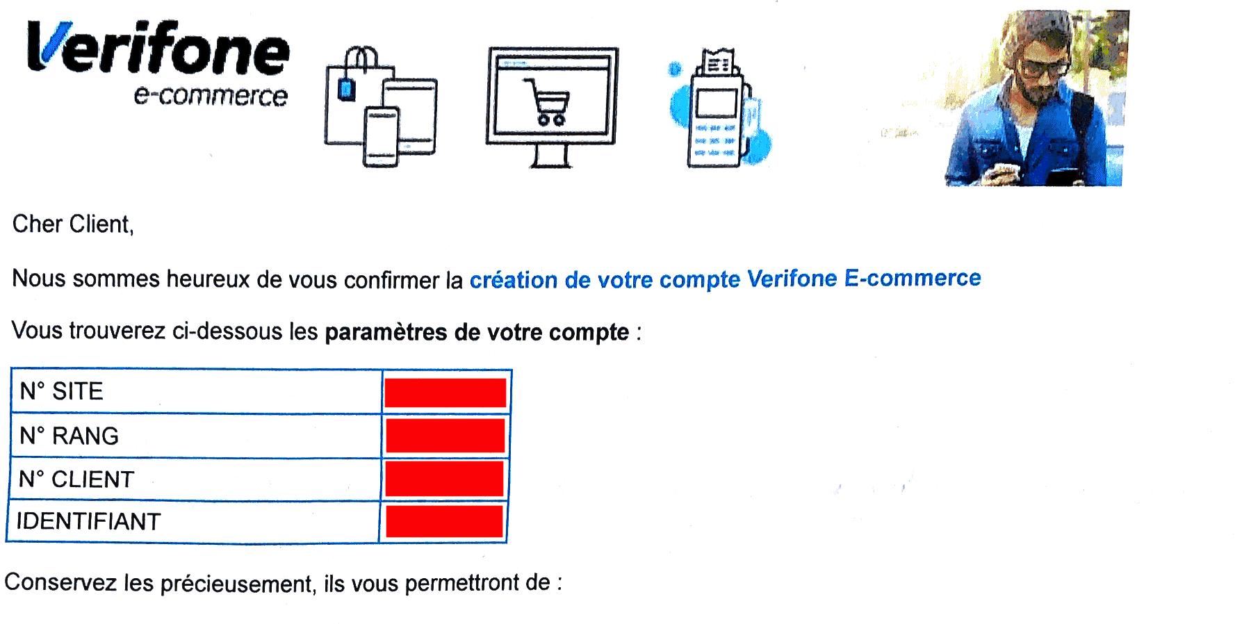 Le mail d'activation Paybox