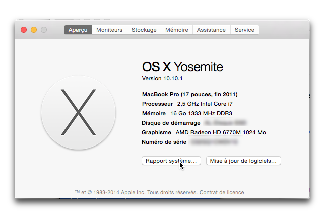 OSX-Comment communiquer les informations système